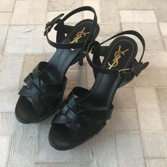 b5278ee874 Yves Saint Laurent Shoes | Black Saint Laurent Tribute 75 Sandal 385 ...